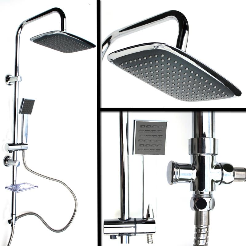 duschset duscharmatur regendusche mit rund oder eckig duschkopf handbrause neu. Black Bedroom Furniture Sets. Home Design Ideas