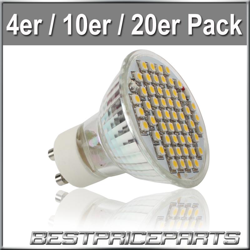 4-10-20-Stuecke-54SMD-3W-GU10-LED-Strahler-Licht-Lampe-Leuchte-Spot-Leuchtmittel